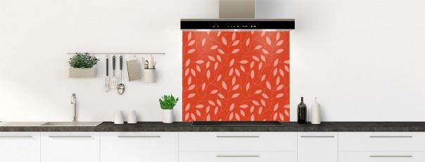 Crédence de cuisine Rideau de feuilles couleur rouge brique fond de hotte