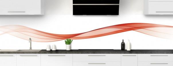 Crédence de cuisine Vague graphique couleur rouge brique panoramique motif inversé