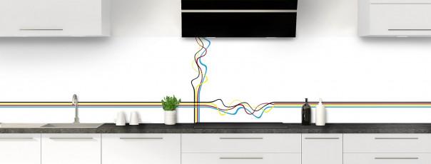 Crédence de cuisine Light painting couleur blanc panoramique