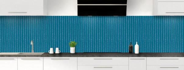 Crédence de cuisine Pointillés couleur bleu baltic panoramique