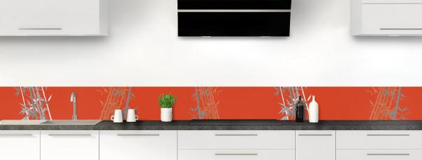 Crédence de cuisine Bambou zen couleur rouge brique dosseret motif inversé