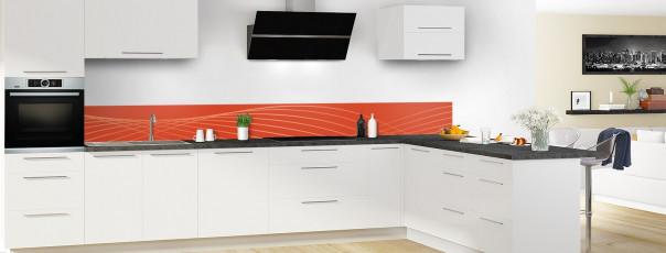 Crédence de cuisine Courbes couleur rouge brique dosseret motif inversé en perspective
