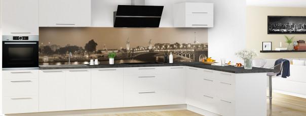 Crédence de cuisine Paris Pont Alexandre III sépia panoramique en perspective