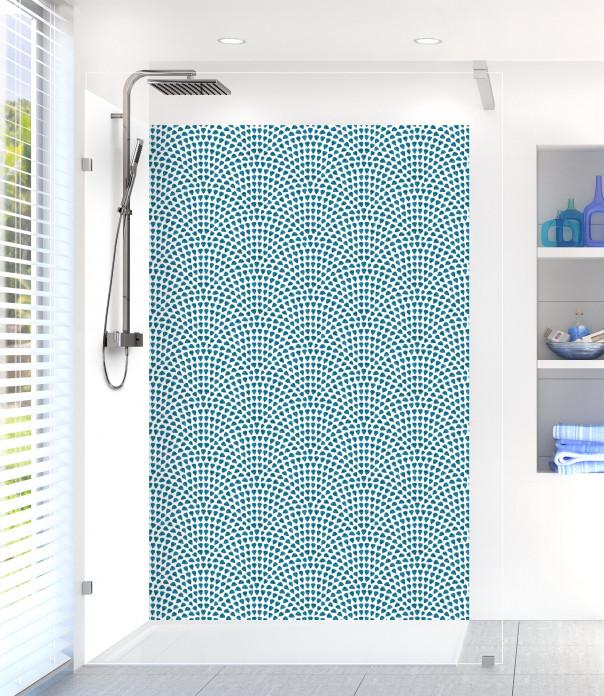Panneau de douche Mosaïque petits cœurs couleur bleu baltic