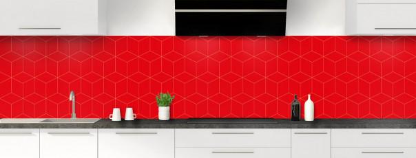Crédence de cuisine Cubes en relief couleur rouge vif panoramique