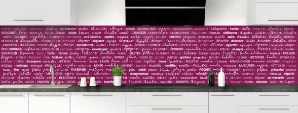 Crédence de cuisine Etapes de recette couleur prune panoramique