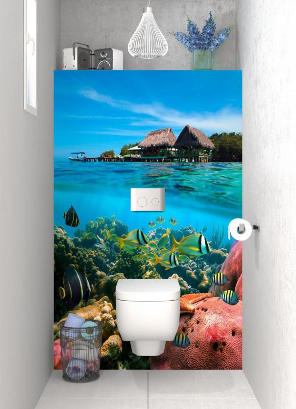 Panneau WC Corail et poissons exotiques motif inversé