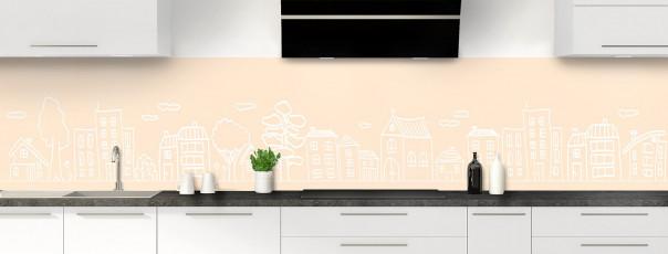 Crédence de cuisine Dessin de ville couleur sable panoramique