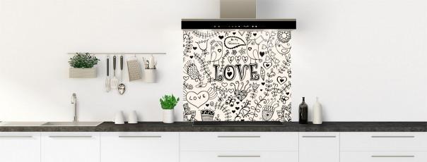 Crédence de cuisine Love illustration couleur magnolia fond de hotte
