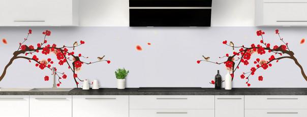 Crédence de cuisine Cerisier japonnais couleur gris clair panoramique