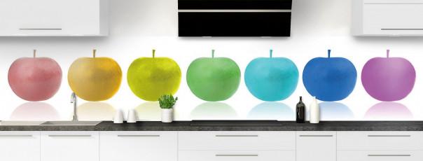 Crédence de cuisine Pommes multicouleurs panoramique