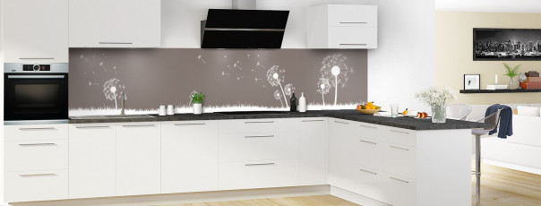 Crédence de cuisine Pissenlit au vent couleur taupe panoramique motif inversé en perspective