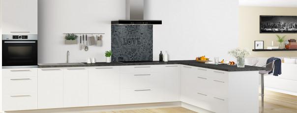 Crédence de cuisine Love illustration couleur gris carbone fond de hotte en perspective