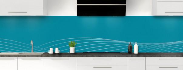 Crédence de cuisine Courbes couleur bleu canard panoramique