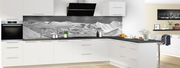 Crédence de cuisine Montagnes enneigées Noir et blanc panoramique motif inversé en perspective