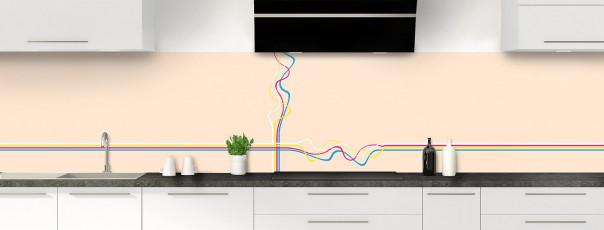 Crédence de cuisine Light painting couleur sable panoramique