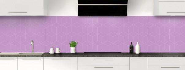 Crédence de cuisine Cubes en relief couleur parme panoramique