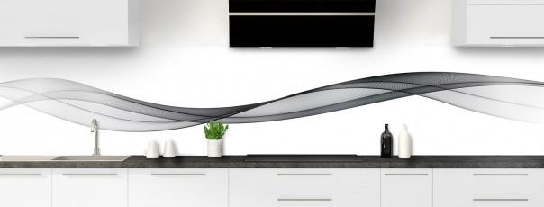 Crédence de cuisine Vague graphique couleur gris carbone panoramique motif inversé