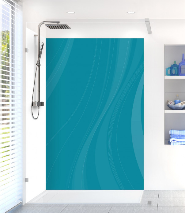 Panneau de douche Voilage couleur bleu canard motif inversé