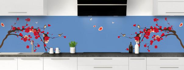Crédence de cuisine Cerisier japonnais couleur bleu lavande panoramique motif inversé