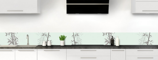 Crédence de cuisine Bambou zen couleur vert eau dosseret motif inversé