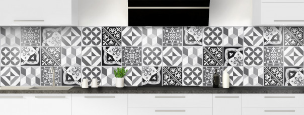 Crédence de cuisine Carreaux de ciment contemporain  Noir et Blanc panoramique