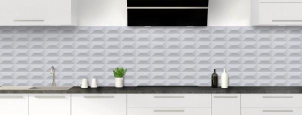 Crédence de cuisine Briques en relief couleur gris métal panoramique