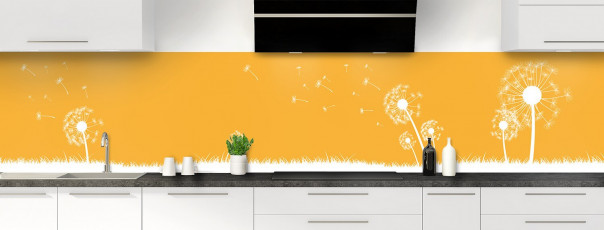 Crédence de cuisine Pissenlit au vent couleur abricot panoramique motif inversé