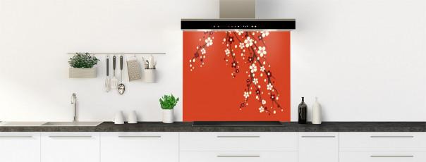 Crédence de cuisine Arbre fleuri couleur rouge brique fond de hotte