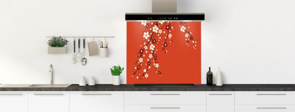 Crédence de cuisine Arbre fleuri couleur rouge brique fond de hotte motif inversé