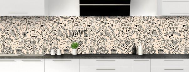 Crédence de cuisine Love illustration couleur sable panoramique