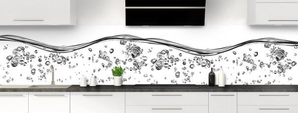 Crédence de cuisine Aqua et bulles Blanc panoramique motif inversé