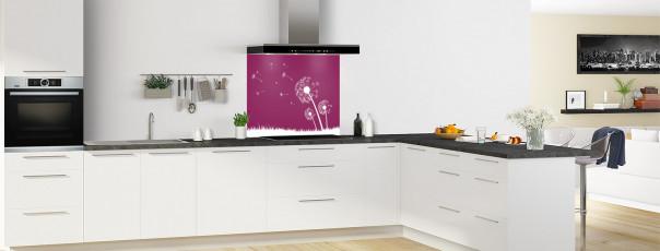 Crédence de cuisine Pissenlit au vent couleur prune fond de hotte motif inversé en perspective