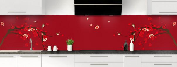 Crédence de cuisine Cerisier japonnais couleur rouge carmin panoramique motif inversé