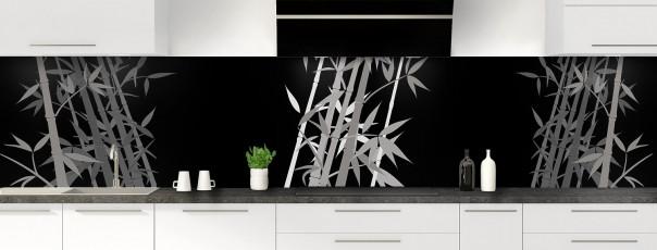 Crédence de cuisine Bambou zen couleur noir panoramique