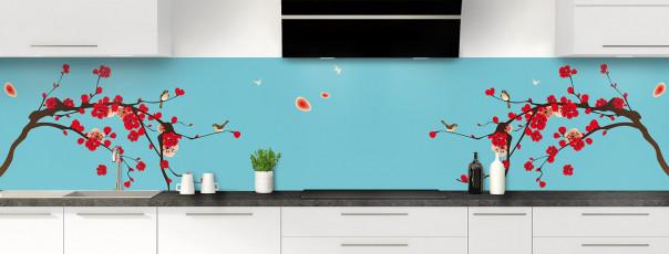 Crédence de cuisine Cerisier japonnais couleur bleu lagon panoramique