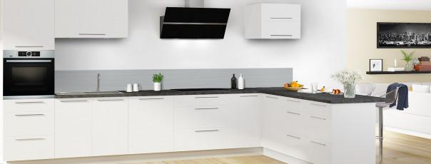 Crédence de cuisine Lignes horizontales couleur gris métal dosseret en perspective