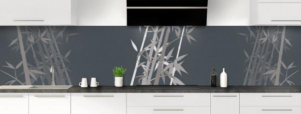 Crédence de cuisine Bambou zen couleur gris carbone panoramique