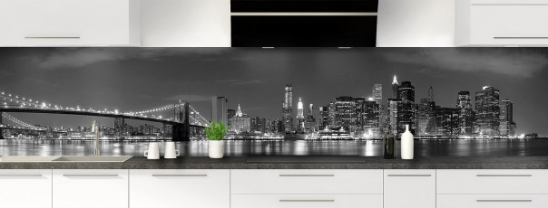 Crédence de cuisine New York Noir & Blanc panoramique motif inversé