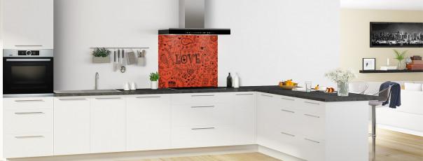 Crédence de cuisine Love illustration couleur rouge brique fond de hotte en perspective