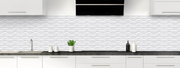 Crédence de cuisine Motif vagues couleur blanc panoramique