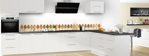 Crédence de cuisine Cuillères gourmandes panoramique motif inversé en perspective