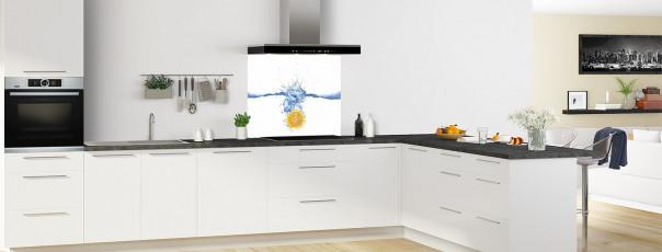 Crédence de cuisine Aqua et orange fond de hotte en perspective