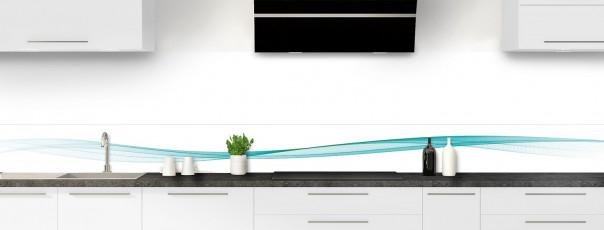 Crédence de cuisine Vague graphique couleur bleu lagon dosseret motif inversé