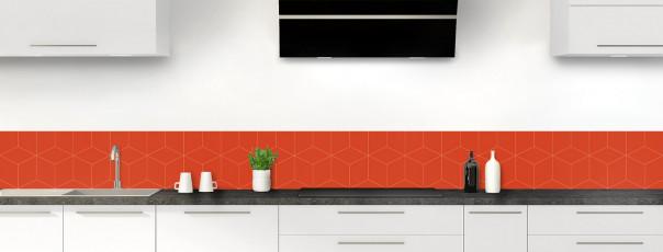 Crédence de cuisine Cubes en relief couleur rouge brique dosseret