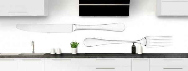 Crédence de cuisine Fourchette et couteau fond blanc panoramique