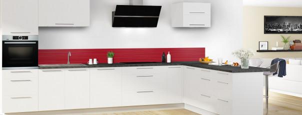 Crédence de cuisine Lignes horizontales couleur rouge carmin dosseret en perspective