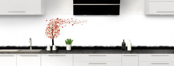 Crédence de cuisine Arbre d'amour couleur rouge brique panoramique