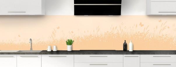 Crédence de cuisine Prairie et papillons couleur sable panoramique motif inversé