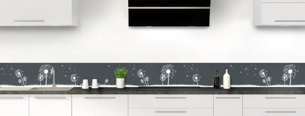 Crédence de cuisine Pissenlit au vent couleur gris carbone dosseret motif inversé